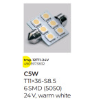 Лампа подсветки салона, номера, гирлянда T11x36-S8.5 (6 SMD size5050) WARM WHITE C5W 24V Tempest tmp-12T11-24V
